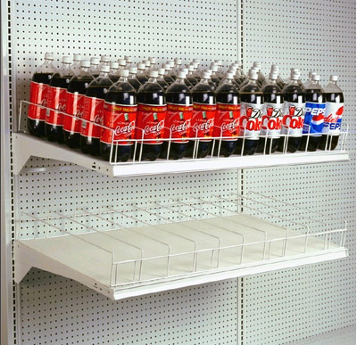 Gravity Feed Soda Bottle Shelves